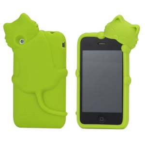 Deere Stogdill 3D Diffie Cat Silicone Soft Case Cover with Earphone Jack Plug for iPhone 3G 3GS - Green
