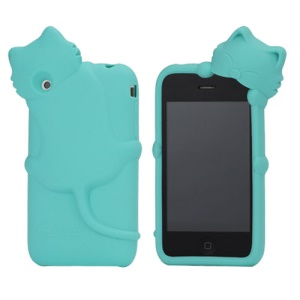 Deere Stogdill 3D Diffie Cat Silicone Soft Case Cover with Earphone Jack Plug for iPhone 3G 3GS - Blue