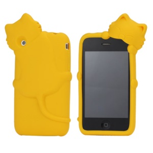 Deere Stogdill 3D Diffie Cat Silicone Soft Case Cover with Earphone Jack Plug for iPhone 3G 3GS - Yellow