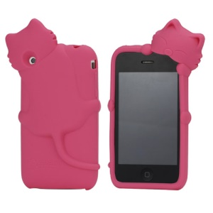 Deere Stogdill 3D Diffie Cat Silicone Soft Case Cover with Earphone Jack Plug for iPhone 3G 3GS - Rose