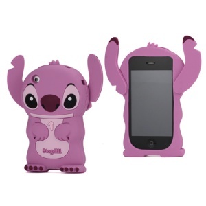 DER Stogdill OEM Adorable 3D Stitch Soft Silicone Cover for iPhone 3G 3GS - Purple