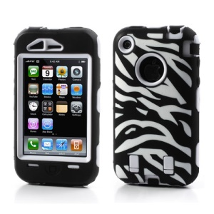 Stylish Zebra Plastic & Silicone Hybrid Case Cover for iPhone 3GS 3G - White / Black