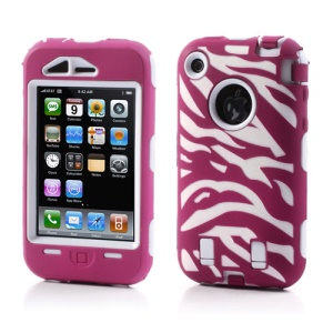 Stylish Zebra Plastic & Silicone Hybrid Case Cover for iPhone 3GS 3G - White / Rose