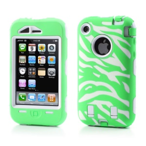 Stylish Zebra Plastic & Silicone Hybrid Case Cover for iPhone 3GS 3G - White / Green