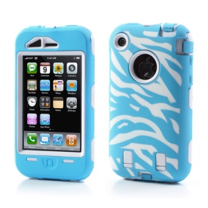 Stylish Zebra Plastic & Silicone Hybrid Case Cover for iPhone 3GS 3G - White / Baby Blue