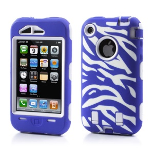 Stylish Zebra Plastic & Silicone Hybrid Case Cover for iPhone 3GS 3G - White / Dark Blue