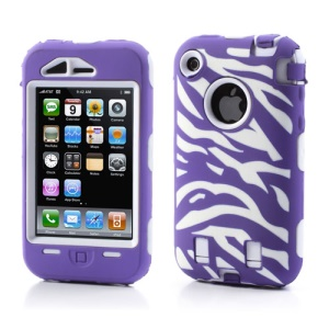 Stylish Zebra Plastic & Silicone Hybrid Case Cover for iPhone 3GS 3G - White / Purple