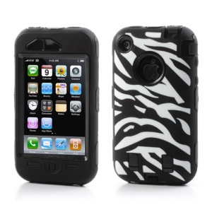 Stylish Zebra Plastic & Silicone Hybrid Case Cover for iPhone 3GS 3G - Black