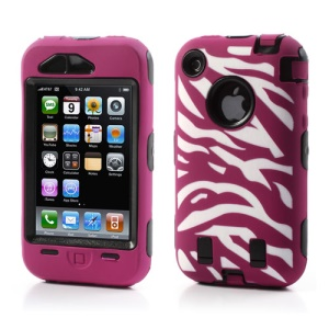 Stylish Zebra Plastic & Silicone Hybrid Case Cover for iPhone 3GS 3G - Black / Rose