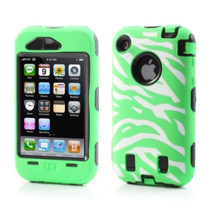 Stylish Zebra Plastic & Silicone Hybrid Case Cover for iPhone 3GS 3G - Black / Green