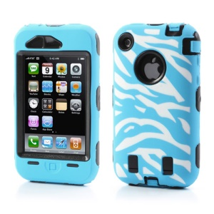 Stylish Zebra Plastic & Silicone Hybrid Case Cover for iPhone 3GS 3G - Black / Baby Blue