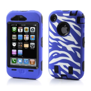 Stylish Zebra Plastic & Silicone Hybrid Case Cover for iPhone 3GS 3G - Black / Dark Blue