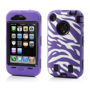 Stylish Zebra Plastic & Silicone Hybrid Case Cover for iPhone 3GS 3G - Black / Purple