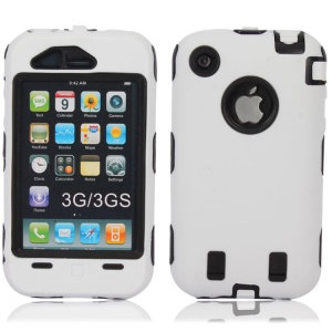 Defender Hybrid Silicone + PC Hard Case for iPhone 3G 3GS - Black / White