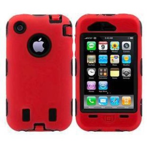 Hybrid Silicone + PC Defender Case for iPhone 3G 3GS - Black / Red