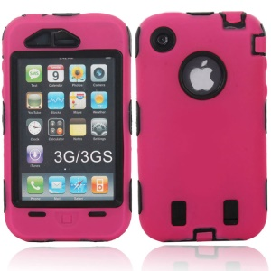 For iPhone 3G 3GS Hybrid Silicone + PC Defender Cover - Black / Rose