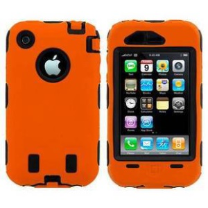 Defender Combo PC + Silicone Case for iPhone 3G 3GS - Black / Orange