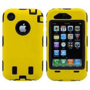 Defender for iPhone 3G 3GS PC + Silicone Hybrid Case - Black / Yellow