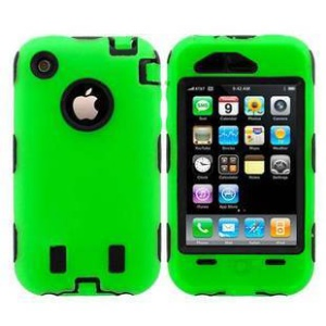 Defender for iPhone 3G 3GS PC + Silicone Hybrid Shell - Black / Green