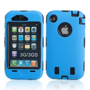Combo PC + Silicone Hybrid Defender Case for iPhone 3G 3GS - Black / Blue