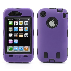 Combo PC + Silicone Hybrid Defender Cover for iPhone 3G 3GS - Black / Purple