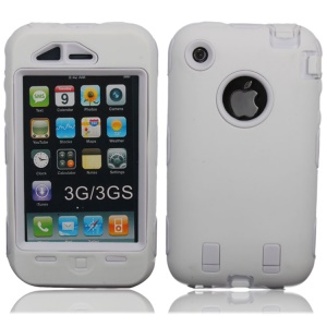 Impact-resistant Hybrid Defender Case for iPhone 3G 3GS - White
