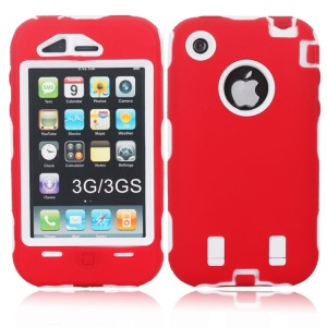 Impact-resistant for iPhone 3G 3GS Defender Hybrid Cover - White / Red