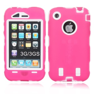 Defender Impact-resistant for iPhone 3G 3GS Hybrid Shell - White / Rose