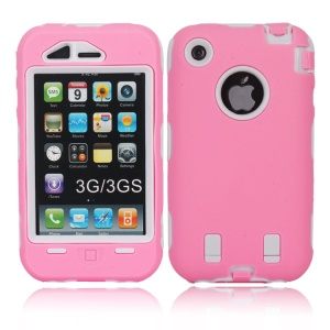 Defender PC + Silicone Combo Impact Case for iPhone 3G 3GS - White / Pink
