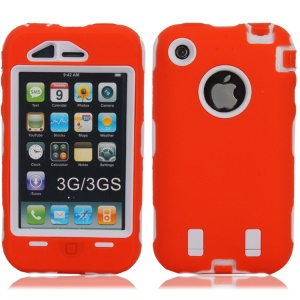 Defender PC + Silicone Hybrid Gel Case for iPhone 3G 3GS - White / Orange