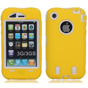 Defender PC + Silicone Hybrid Cover for iPhone 3G 3GS - White / Yellow