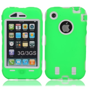 Impact-resistant for iPhone 3G 3GS Defender Case Skin - White / Green