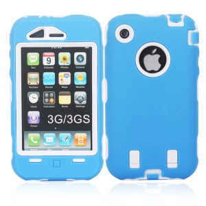 Impact-resistant for iPhone 3G 3GS Defender Case Cover - White / Blue