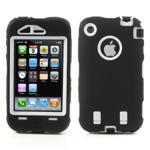 Impact-resistant for iPhone 3G 3GS Defender Case - White / Black