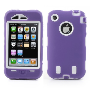 Impact-resistant for iPhone 3G 3GS Defender Case - White / Purple
