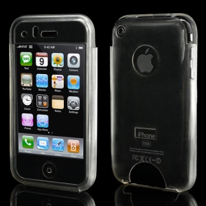 Glossy Soft Gel TPU Pouch Case Cover for iPhone 3G/3GS - Transparent