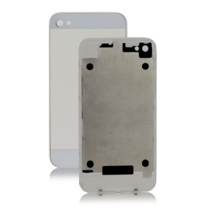 iPhone 5 Style Litchi Leather Back Cover Housing for iPhone 4 - White