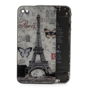 Paris Eiffel Tower Butterfly Glass Back Cover Housing Battery Door for iPhone 4