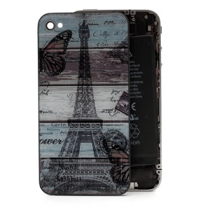 Famous Eiffel Tower Pattern Glass Back Cover Housing for iPhone 4
