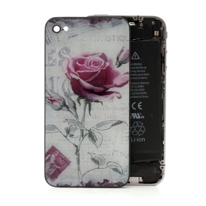 Beautiful Rose Romantic Glass Back Housing Cover for iPhone 4