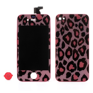 Pink Leopard Pattern Conversion Kit for iPhone 4 (LCD Assembly + Battery Cover + Home Button)