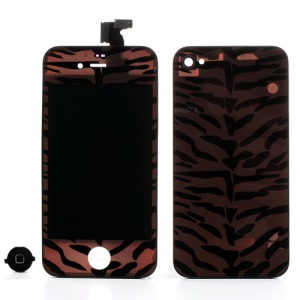 Tiger Skin Pattern Conversion Kit for iPhone 4 (LCD Assembly + Battery Cover + Home Button)