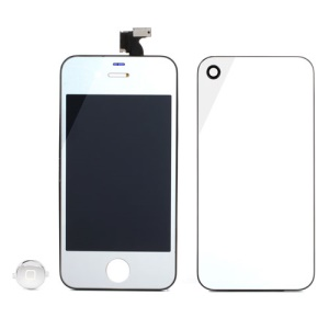 Silver Electroplating Mirror-like Conversion Kit for iPhone 4 (LCD Assembly + Battery Cover + Home Button)