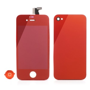 Red Electroplated Mirror-like Conversion Kit for iPhone 4 (LCD Assembly + Battery Cover + Home Button)