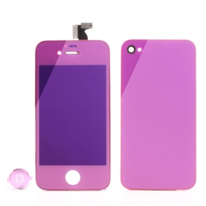 Pink Electroplated Mirror-like Conversion Kit for iPhone 4 (LCD Assembly + Battery Cover + Home Button)