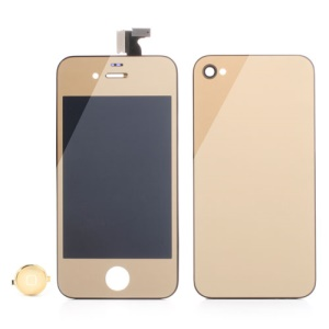 Gold Electroplating Mirror-like Conversion Kit for iPhone 4 (LCD Assembly + Battery Cover + Home Button)