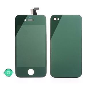 Green Electroplating Mirror-like Conversion Kit for iPhone 4 (LCD Assembly + Battery Cover + Home Button)