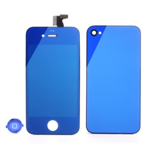 Blue Electroplating Mirror-like Conversion Kit for iPhone 4 (LCD Assembly + Battery Cover + Home Button)