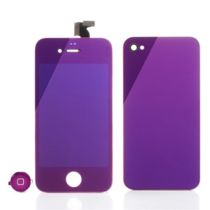 Purple Plating Mirror-like Conversion Kit for iPhone 4 (LCD Assembly + Battery Cover + Home Button)