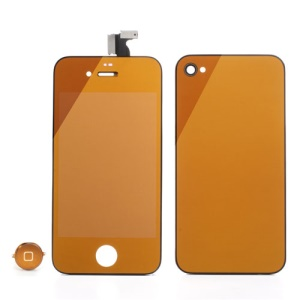Orange Plating Mirror-like Conversion Kit for iPhone 4 (LCD Assembly + Battery Cover + Home Button)